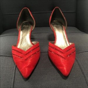 Adorable Red Suede Shoe Accented w/Sequin